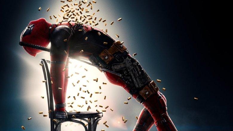 Deadpool in a shower of bullets