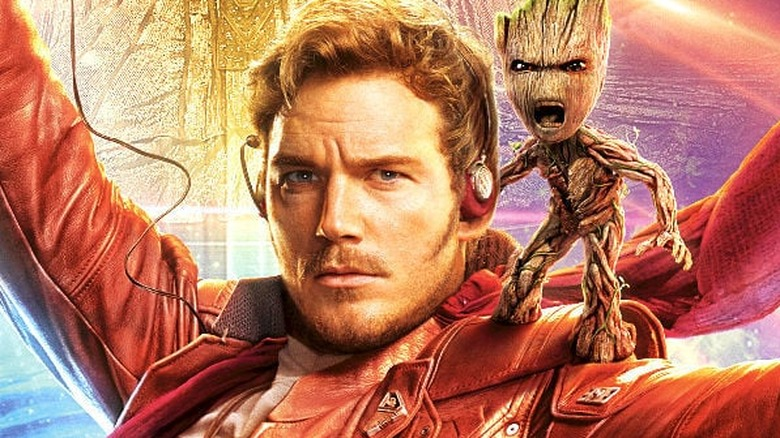 Chris Pratt as Star-Lord with Baby Groot on Guardians of the Galaxy Vol. 2 poster