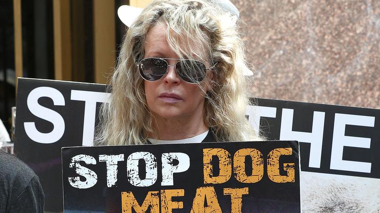Kim Basinger protesting