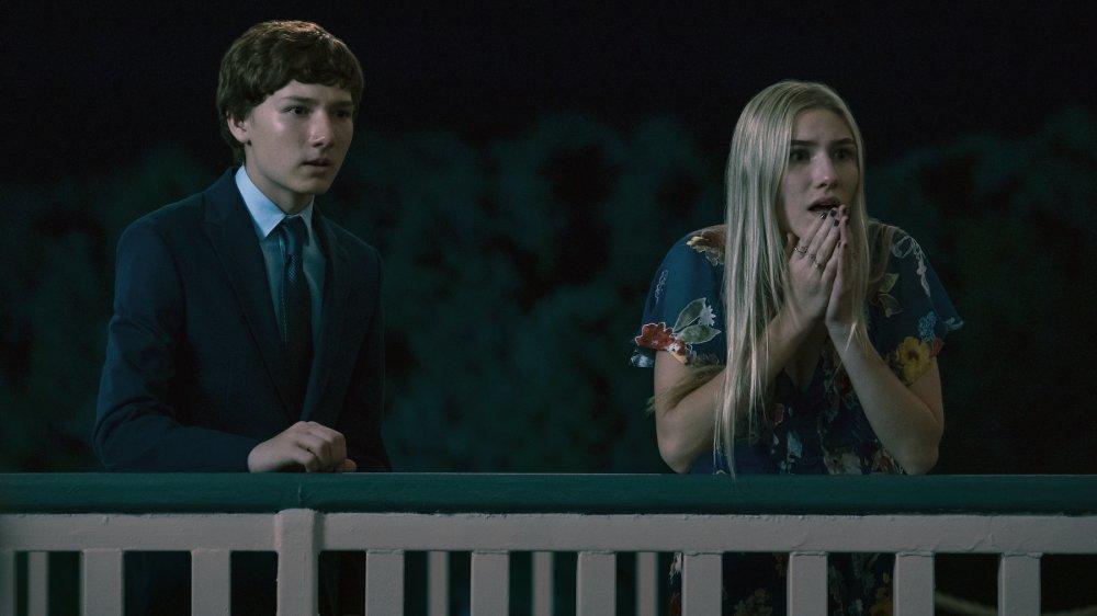 Skylar Gaertner as Jonah Byrde and Sofia Hublitz as Charlotte Byrde on Ozark