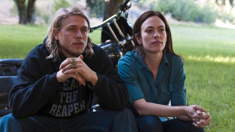 Charlie Hunnam as Jax Teller and Maggie Siff as Tara Knowles on FX's Sons of Anarchy