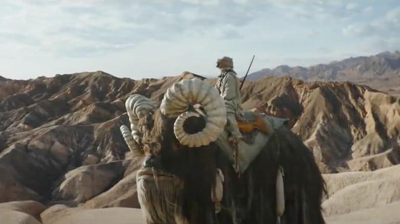 A Tusken Raider rides a Bantha in the trailer for The Mandalorian season 2