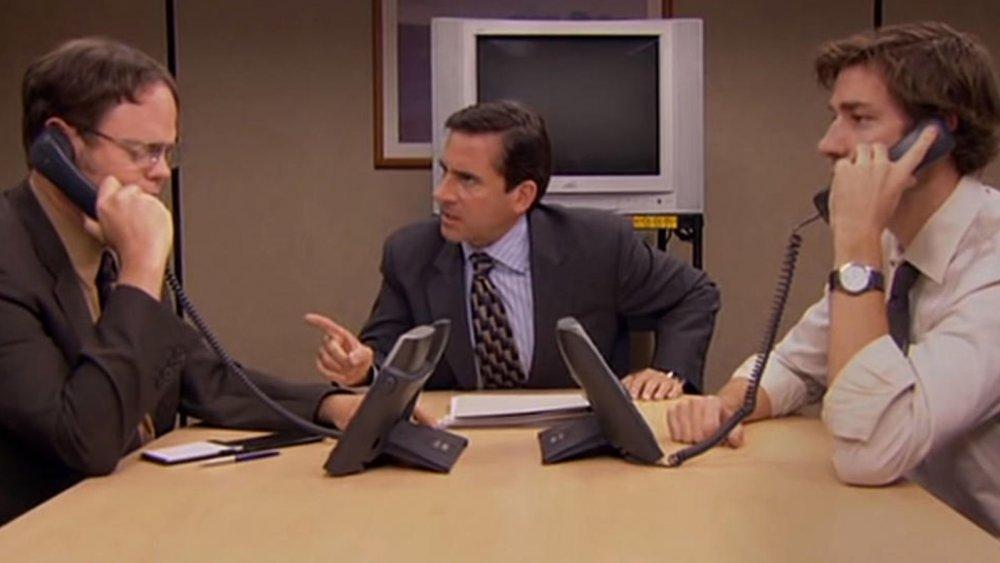 Rainn Wilson as Dwight Schrute, Steve Carell as Michael Scott and John Krasinski as Jim Halpert on The Office