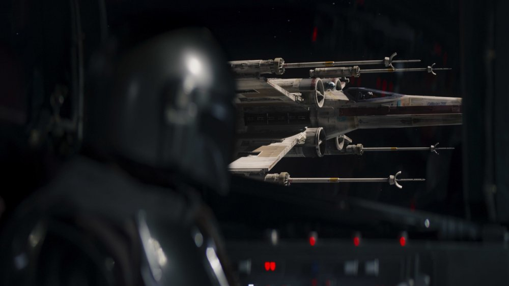Mando and an X-Wing on The Mandalorian