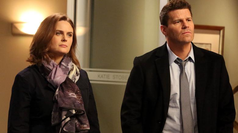 Emily Deschanel as Temperance Brennan and David Boreanaz as Seeley Booth on Fox's Bones