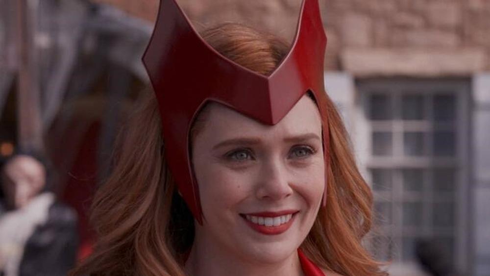 Wanda Maximoff in a Halloween costume