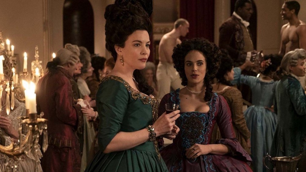 Liv Tyler as Lady Isabella Fitzwilliam and Jessica Brown-Findlay as Charlotte Wells on Hulu's Harlots