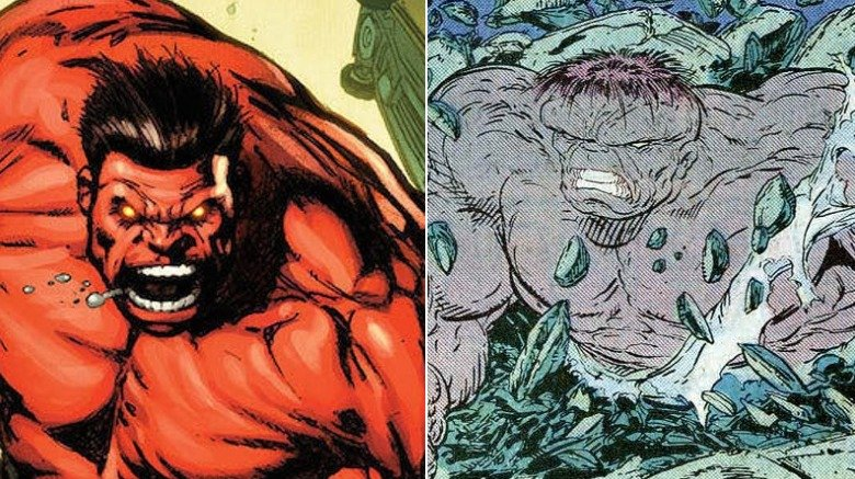 Split image of the Red Hulk and the Gray Hulk