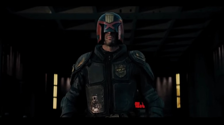 Karl Urban as Judge Dredd in Dredd