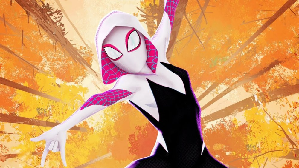 Spider-Gwen swings through the forest in Into the Spider-Verse