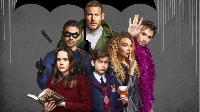 The cast of superhero series Umbrella Academy